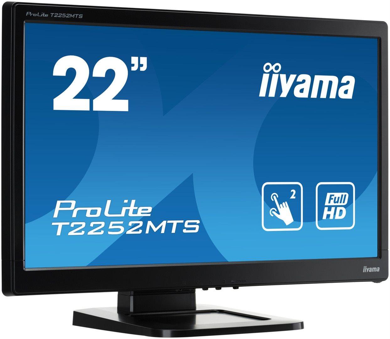 """22"""" LCD iiyama T2252MTS-B3 - 2ms, 220cd/m2, FullHD, VGA, HDMI, DVI, USB, 2 dotyk.body, optický"""